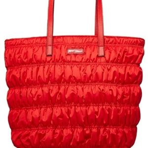 Betsey Johnson 💼 Red Ruche Tote NWT